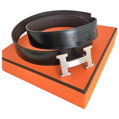 Hermes Reversible Belt Noir / Chocolat Strap, size 85x32, Silver Buckle, Unworn