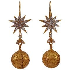 Askew London Star and Ball Drop Gilt CZ Earrings