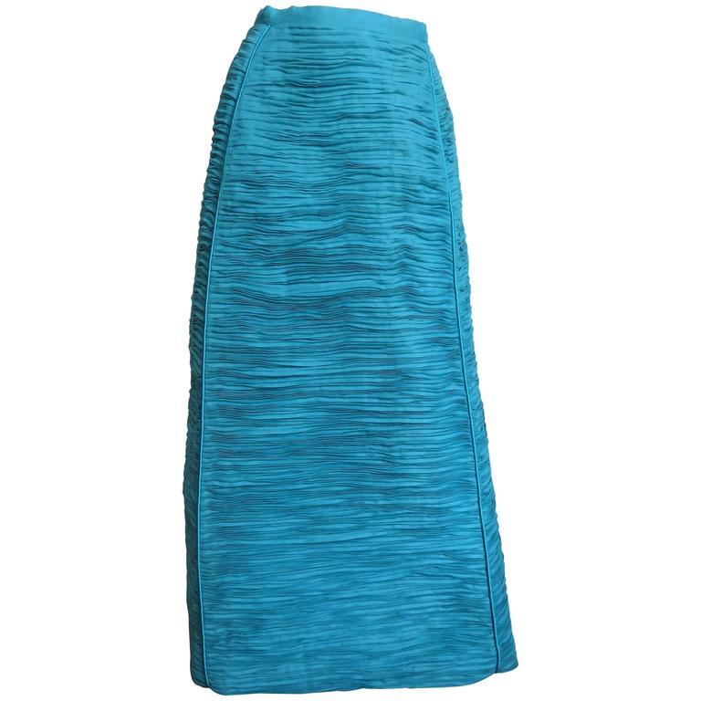 1960s Sybil Connolly Sculptural Signature Linen Maxi Skirt