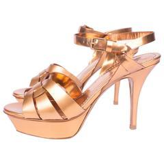 Yves Saint Laurent Tribute Sandalette - gold metallic leather