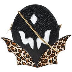 "Stella McCartney Black Faux Leather Animal Print ""Super Hero"" Crossbody Bag"