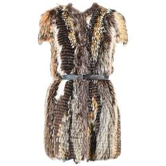 Prada Runway Couture Brown Fox Fur Belted Short Sleeved Outerwear Coat