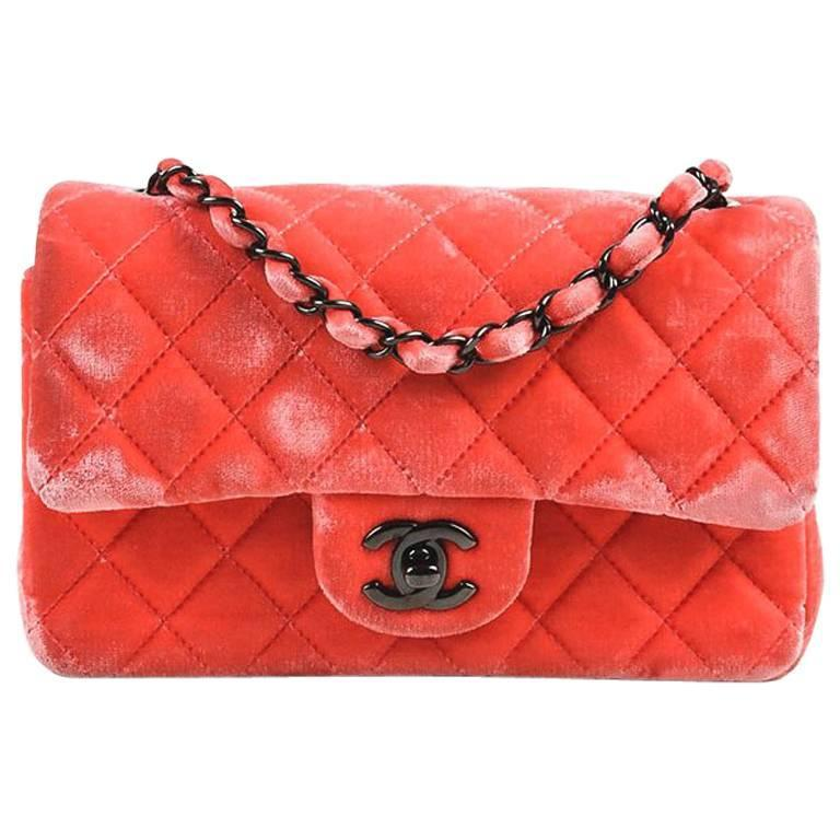 """Chanel Coral Pink Velvet & Leather Quilted Crossbody """"Classic New Mini"""" Bag 1"""
