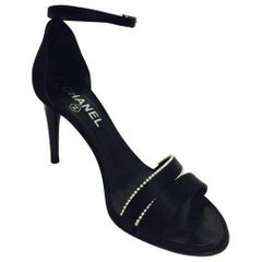 Chanel Black Satin Strappy High Heel Sandals With Pearl Trim