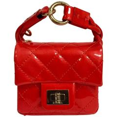 Chanel Lipstick Red Quilted Patent Leather Micro Mini Flap Wristlet