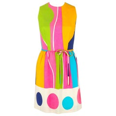 LANZ ORIGINALS c.1960's Multicolor Cotton Colorblock Sleeveless Shift Dress