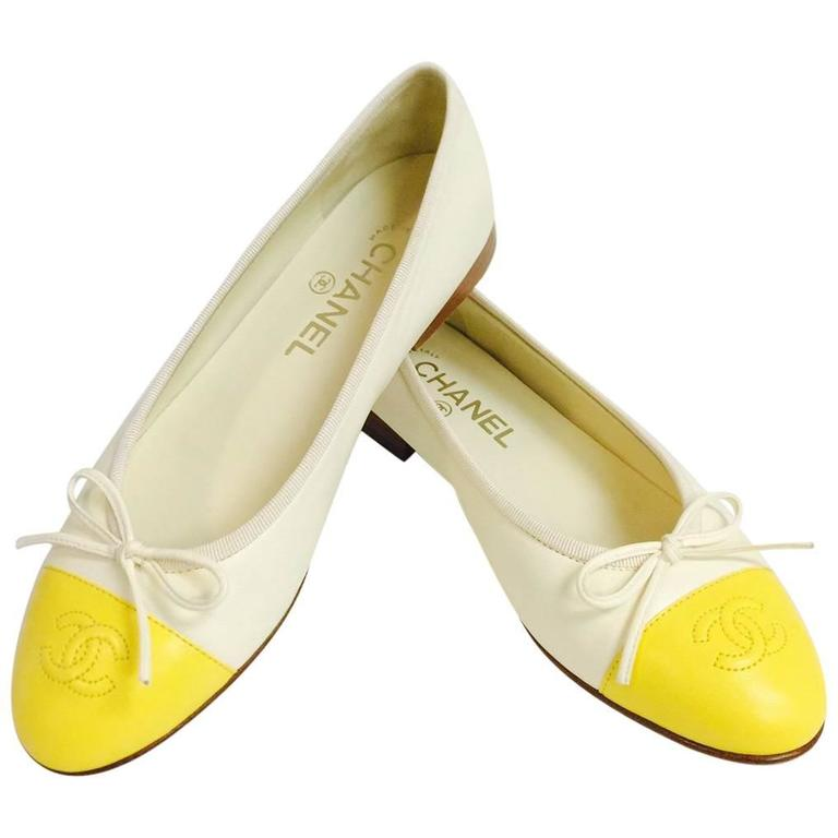 Chanel Vanilla Leather Ballerina Flats With Lemon Cap Toes 1