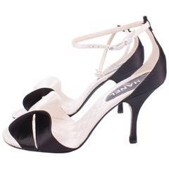 Chanel Satin Pumps Sandalettes - black & white