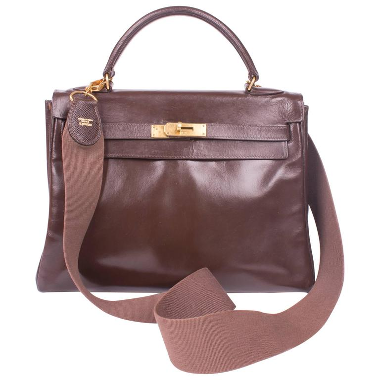 Hermes Kelly Bag 32, Vintage 1971 - chocolate brown