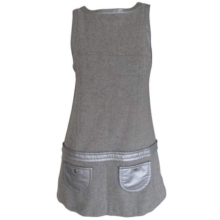 courreges paris grey wool dress