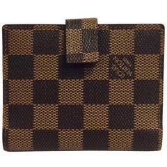 Louis Vuitton Ebene Damier Canvas Wallet With Snap Closure