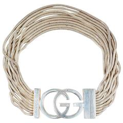 Gucci Sterling Silver 'GG' Logo Multi Strand Chain Link Bracelet