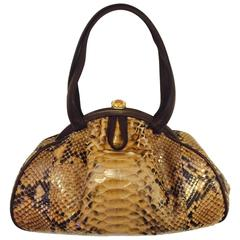 Judith Leiber Gathered Python Frame Hand Bag With Swarovski Crystal Feet