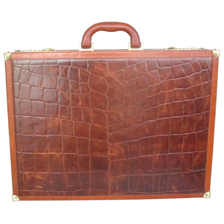 beautiful brown leather briefcase For Sale