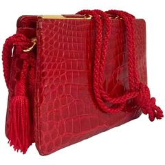 Vintage Judith Leiber Red Alligator Shoulder Bag With Gold Tone Hardware