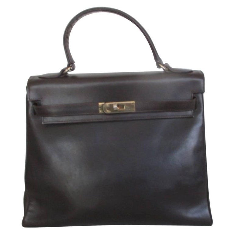 brown vintage leather bag with gold hardware For Sale