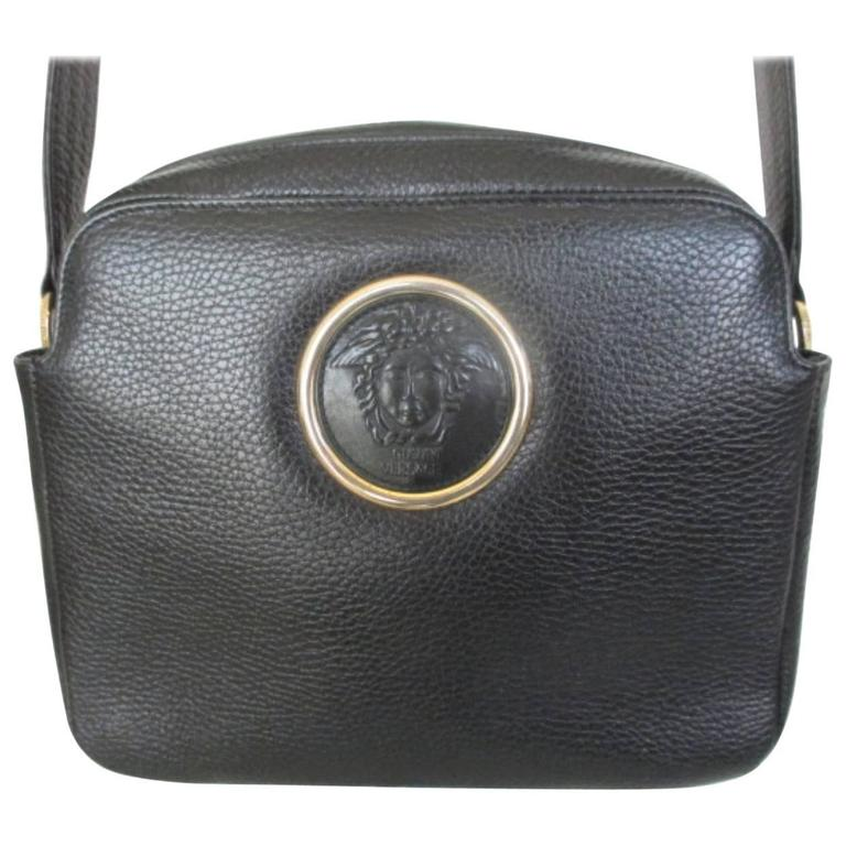 gianni versace black leather medusa bag 1