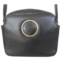 gianni versace black leather medusa bag