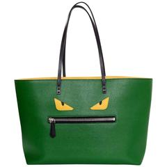 Fendi Green Textured Leater Monster Roll Tote Bag