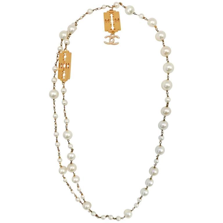Classic Coco Chanel Pearl Razor Blade Necklace 1