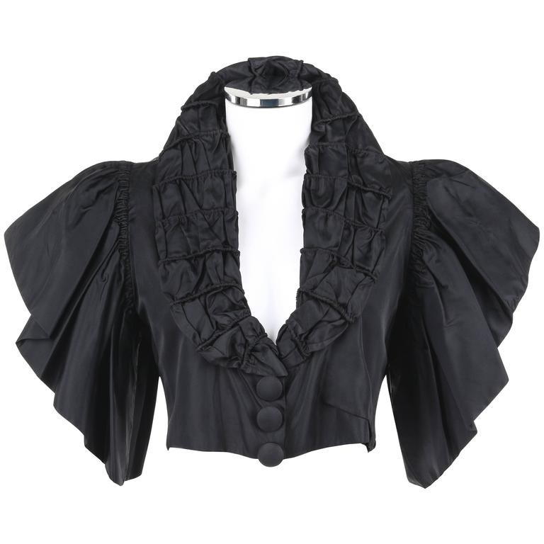 JEAN PATOU Adaptation c.1930's Black Silk Jacket Ruffled Capelet  1