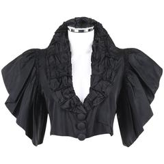 JEAN PATOU Adaptation c.1930's Black Silk Jacket Ruffled Capelet