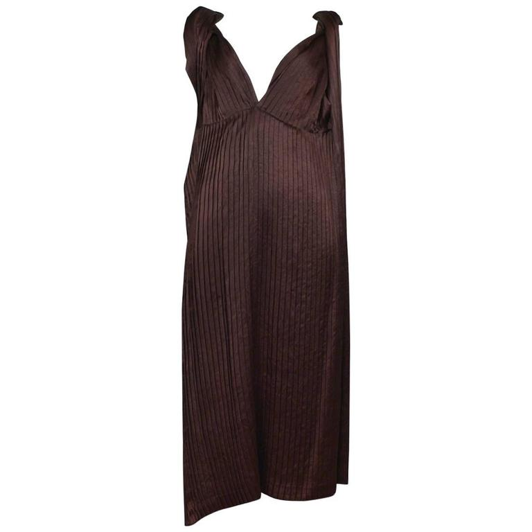 Comme des Garcons Brown Pleated Satin Dress 1