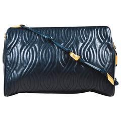 """Vintage Fendi Navy Leather Quilted Gold Tone """"Pasta"""" Shoulder Bag"""