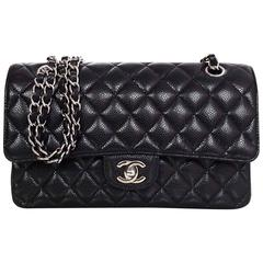 "Chanel Black Quilted Caviar Leather 10"" Medium Double Flap Classi Bag"