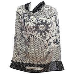 Hermes A Cheval Sur Mon Carre Black White Silk Jersey Scarf 90cm Grail