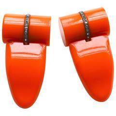 1920s Orange Bakelite Dress Clips