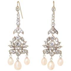 Pearl Triple Drop Earrings