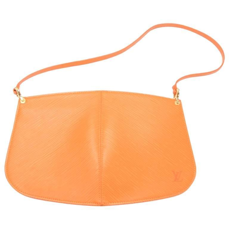 Louis Vuitton Pochette Demi Lune Orange  Epi Leather Hand Bag