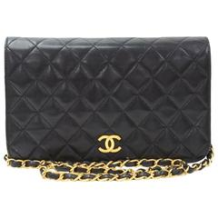 "Chanel 9"" Classic Black Quilted Leather Shoulder Flap Bag"