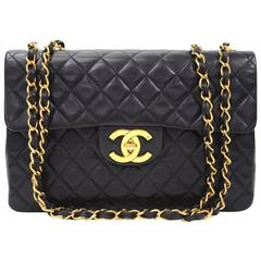 "Vintage Chanel 13"" Maxi Jumbo Black Quilted Leather Shoulder Flap Bag"