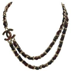 Chanel CC Logo Plaid Tweed & Silver Chain Double Strand Necklace