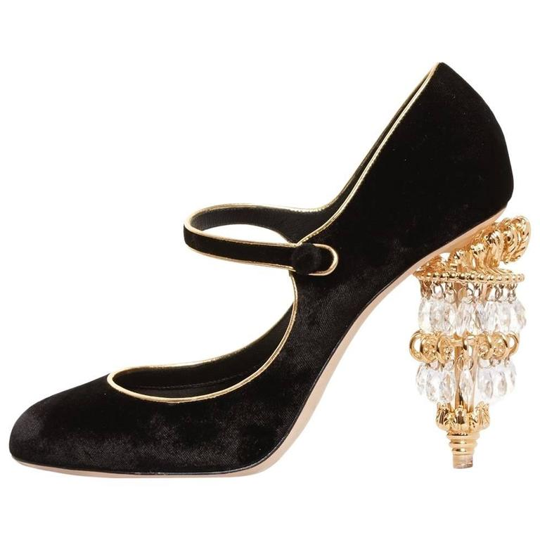 Dolce & Gabbana NEW & SOLD OUT RUNWAY Black Gold Evening Mary Jane Heels in Box For Sale