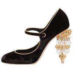 Dolce & Gabbana NEW & SOLD OUT RUNWAY Black Gold Evening Mary Jane Heels in Box