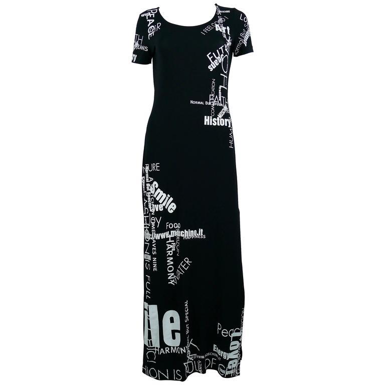 fd1faee776d Moschino Vintage All Over Text Black Maxi Dress USA Size 10 For Sale ...