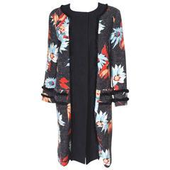 £2175 Etro Black Floral Bouclé Trim Coat 48 uk 14- 16