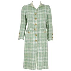 1970 Chanel Haute-Couture Seafoam Green Boucle Plaid Wool Mod Military Coat