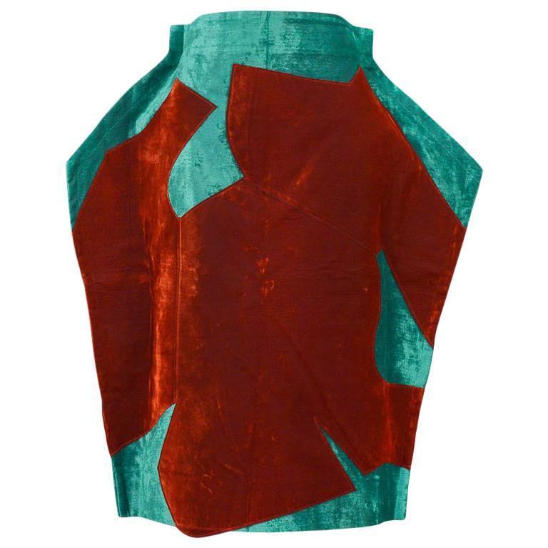 Comme des Garcons Green Velvet Flat Skirt 2012
