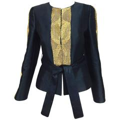 Rena Lange black wool and silk jacket with heavy gold cord embroidery
