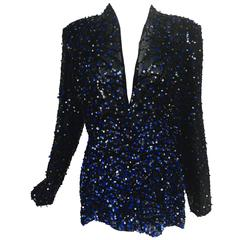 Genny Sequined black silk organza open front jacket NWt
