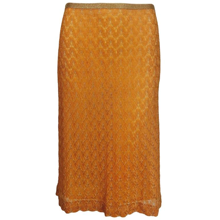 Missoni coral and gold metallic knit straight skirt unworn For Sale