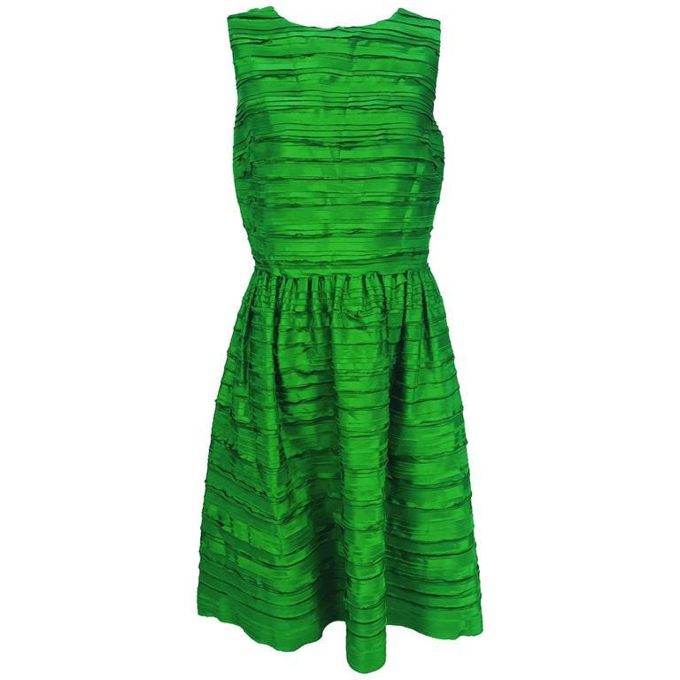 Oscar de la Renta grass green silk layered ribbon dress  1