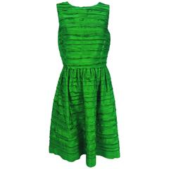 Oscar de la Renta grass green silk layered ribbon dress