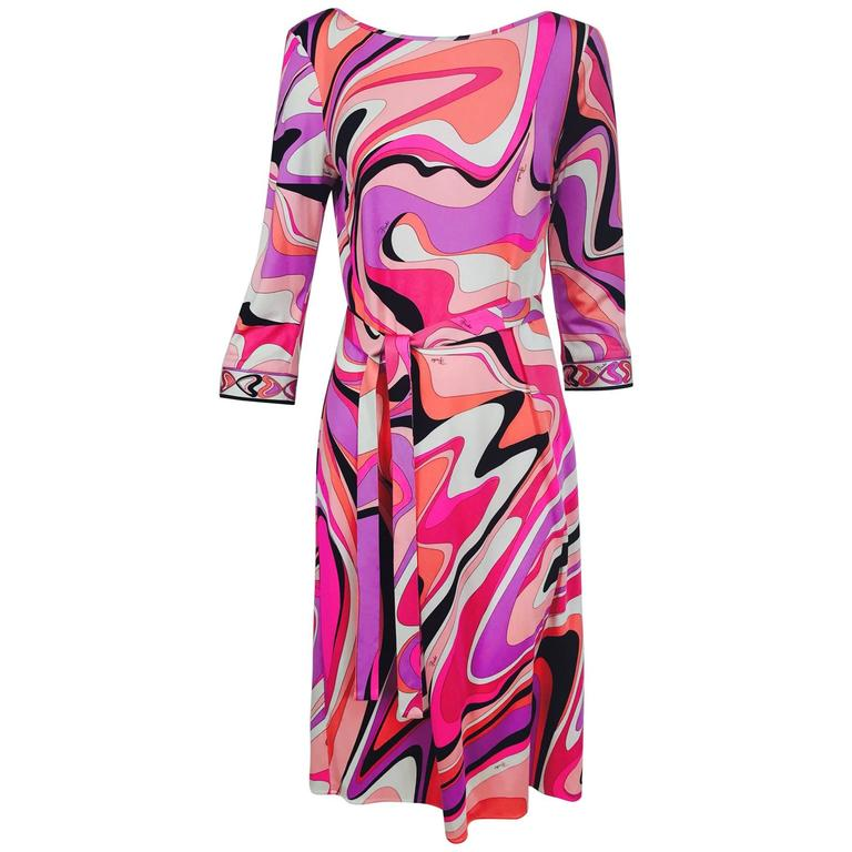 Pucci silk jersey scoop back dress in pink and orange plus  1