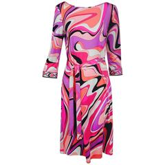 Pucci silk jersey scoop back dress in pink and orange plus