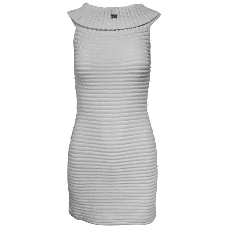 Chanel white rib knit cowl neck bandage dress 2009